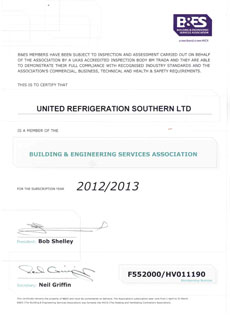 BES Certificate - United Refrigeration - Portsmouth