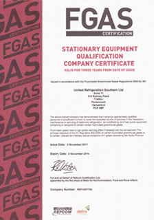 FGAS Certificate - United Refrigeration - Portsmouth