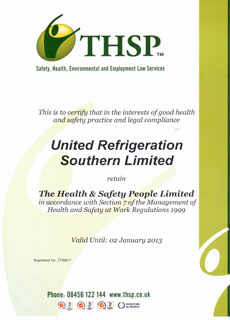 THSP Certificate - United Refrigeration - Portsmouth